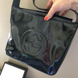 Gucci Bags - GUCCI  Black Patent Leather GG Logo Soho Bag Vint
